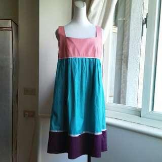 'epanouir 復古撞色 高腰棉質娃娃洋裝