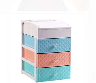 Colourful Cosmetic storage box with 3 layers drawer