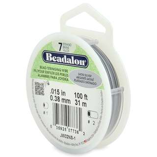 🚚 BEADALON 7-Strand Bead Stringing Wire, 0.015-Inch, Satin SIlver, 100-Feet