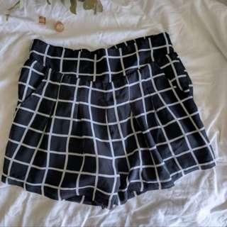 Grid Chiffon Shorts