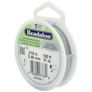Beadalon 7-Strand Bead Stringing Wire, 0.018-Inch, Satin Silver, 100-Feet
