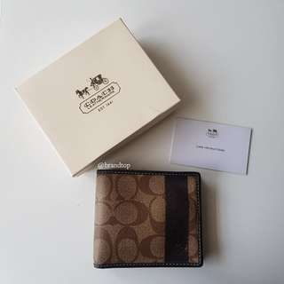 Authentic Coach Signature Heritage Stripe Wallet Khaki