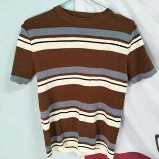 條紋針織短袖上衣
