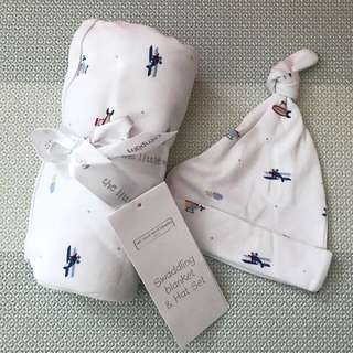 Brand New The Little White Company London Designer Boutique Plane helicopter Flight Blanket Swaddle and Hat [Mothercare, GAP, Seed, Le Petit Organic]