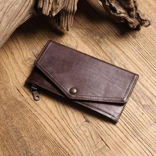 真皮牛革信封長夾 手拿包 可放手機 禮物