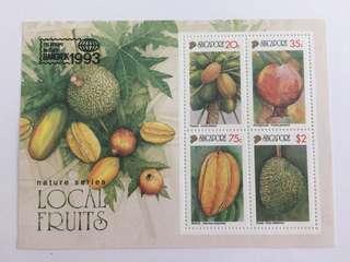 Singapore 1993 Local Fruits MS mnh