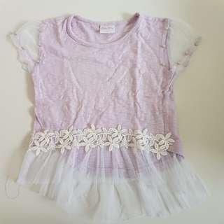Lavander top with floral applique and pearls