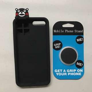 iPhone 3D Kumamon black phone case, black pop socket