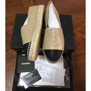 Chanel Leather Classic Espadrilles Double Sole