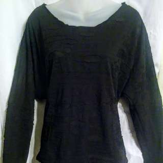 XL Black long sleeve distressed blouse