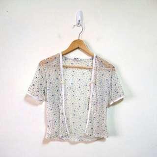 小碎花網紗罩衫