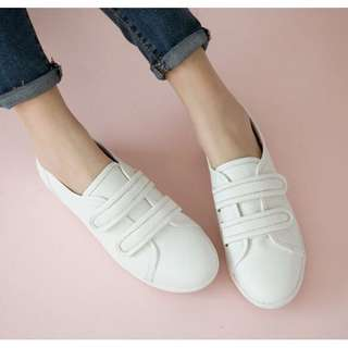 FM 純白主義雙帶魔鬼氈休閒鞋-白色