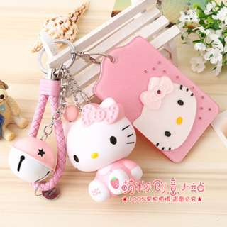 Hello Kitty Hard Acrylic Bus Card Holder Bell Keychain Holder With HK Toy Figure