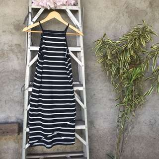 Black and White Striped Knitted Dress knee-length