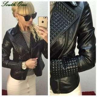 Leather Jacket Women Stud/rivet Moto Biker Zip Coats chaqueta Blazer PU Jack jaqueta couro Rock cuir femme casaco 2018
