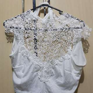 White Cropped Halter Lace Top