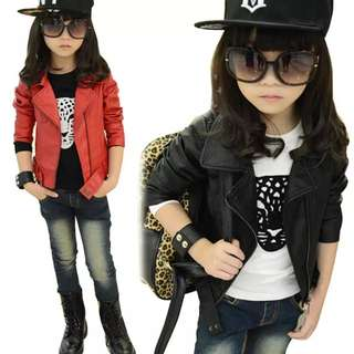 Baby Girl Leather Jacket Kids Girls Coats Spring Kids Faux Leather Jackets Girls Casual Black Solid Children Outerwear 2018 New