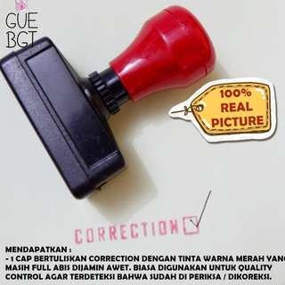 cap otomatis bertuliskan CORRECTION / stamp / stampel / stempel