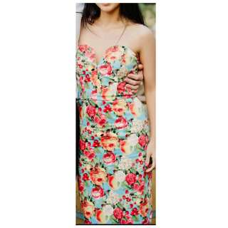 Asos floral colour dress strapless sweetheart midi