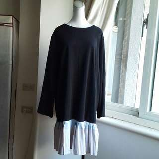 韓版 寬鬆百摺魚尾洋裝