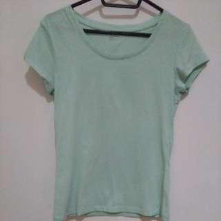(二手)極簡青綠舒適短袖