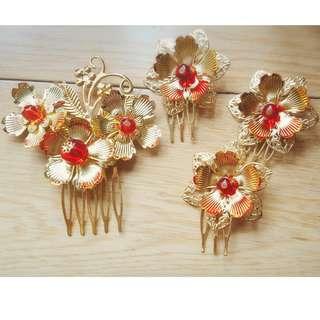 中式 新娘 結婚 頭飾 髮簪  一大三小 插叉