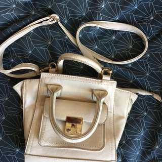 Cream pu Leather hand bag w sling