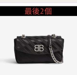 Balenciaga - Striped Logo Canvas Shoulder Bag