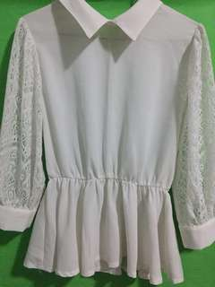 Korean- White lace top