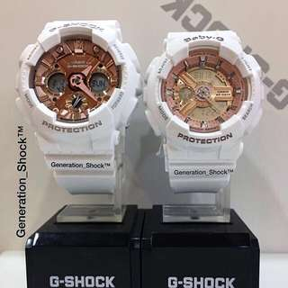 COUPLE PAIR SET in CASIO BABYG GSHOCK DIVER WATCH : 1-YEAR OFFICIAL WARRANTY: 100% ORIGINALLY AUTHENTIC G-SHOCK RESISTANT in ABSOLUTELY TOUGHNESS in SNOW-WHITE ROSE🌹GOLD Best Gift Especially For Most Rough Users: GMA-S120MF-7A2DR & BA-110-7A1DR