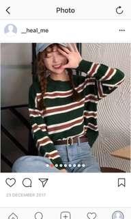 綠色條紋毛衣