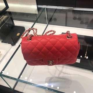 Chanel mini flap 20cm (Red lambskin)