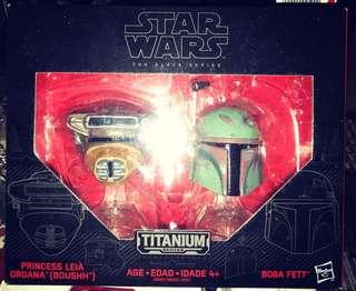 Star wars Titanium Boba Fett and Princess Leia (Boussh) Hasbro