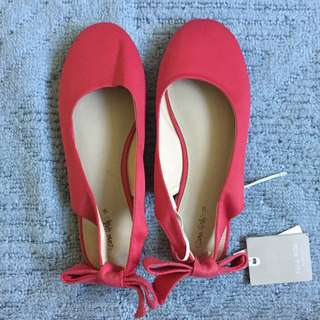 Zara Girls Red Bow Flats