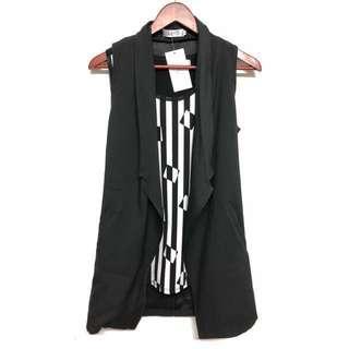全新 西裝領無袖背心長版罩衫(有口袋)🎈