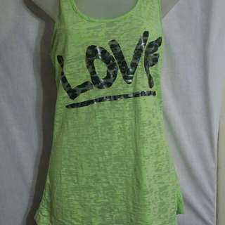 Large Lime Love tank top by Wetseal.