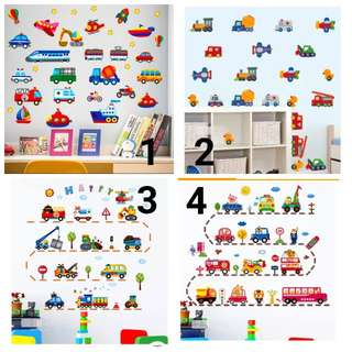💥( 5 Designs .$10 Each ) Removable wall stickers cartoon construction vehicles excavators crane car . trucks children 's room kindergarten wall decoration wall stickers/Home Decor