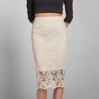 Abercrombie & Fitch White Lace Midi Skirt