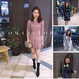 正韓 轉賣女人窩超級美蕾絲洋裝 全新深藍S