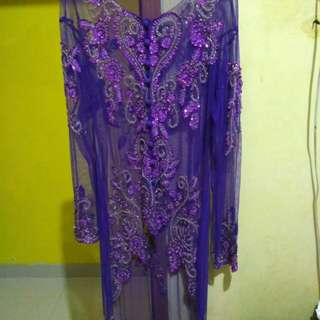 Kebaya ungu 1set dengan rok ukuran XXXL