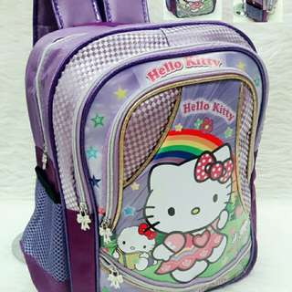 Ransel TK Hello Kitty Purple 83000 Bhn Parasut Tebal kombi Motif (4 Resleting, 6 Ruang) Good Quality