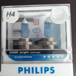 Philips H4 headlight 4300K free with a pair of T10 white light bulb