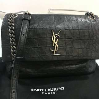 Ysl medium West Hollywood in black crocodile embossed leather