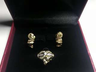 Diamond Ring and Earrings Set 3pc Gold