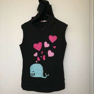 Black Hoodie Whale Hearts