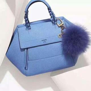 Tory Burch Blue Satchel Half Moon