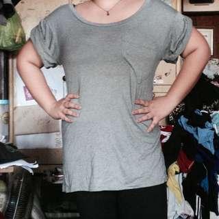 Plus size gray long blouse