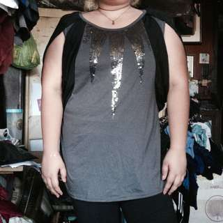 Plus size long blouse with sequins