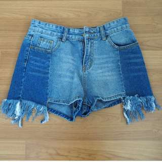 [USED] Distressed patched denim shorts