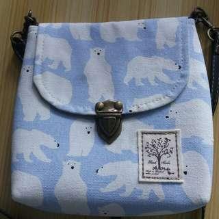 北極熊 淺藍 細斜孭袋